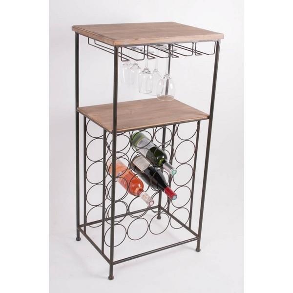 Meuble de cave casier 20 bouteilles + rack pour verres