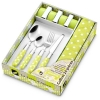 Coffret 16 pièces en inox + serviettes + ronds de serviettes